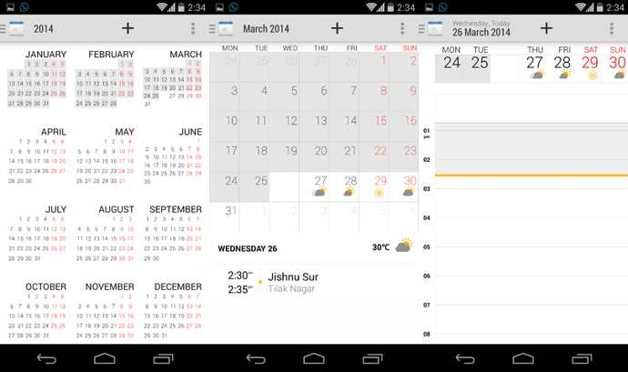 calendario xperia z2 android