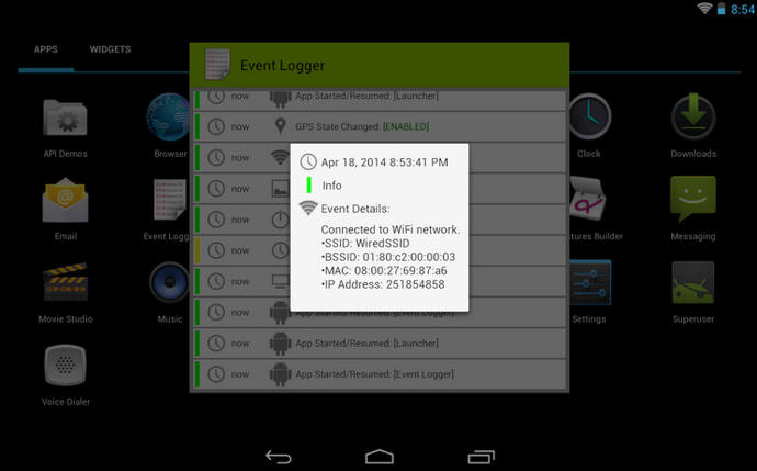 event logger android