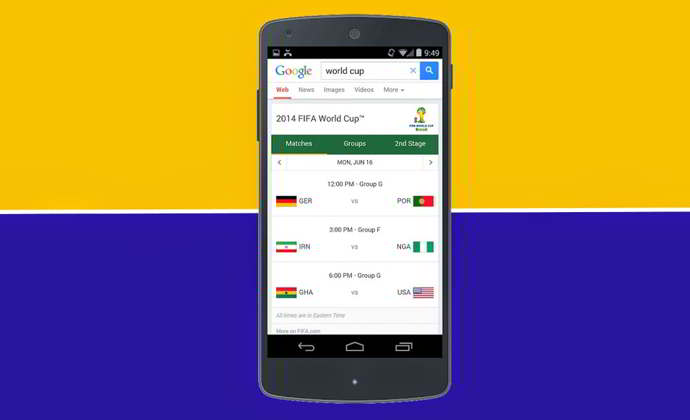 google search mundial 2014 android