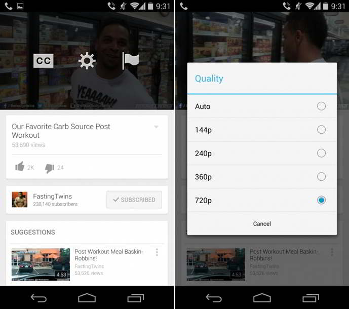 youtube android streaming calidad
