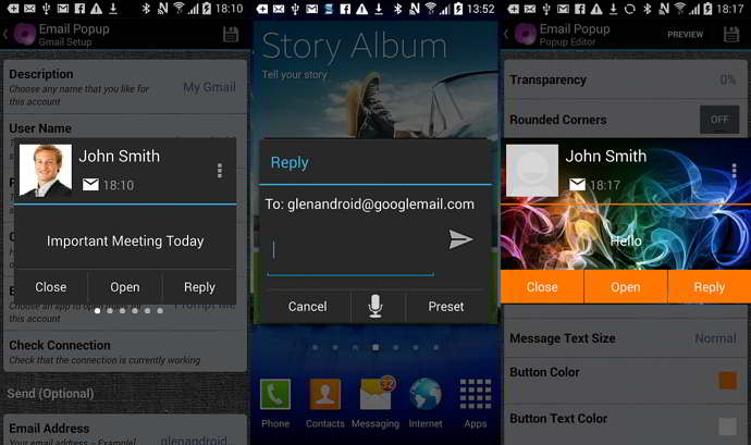 email popup android