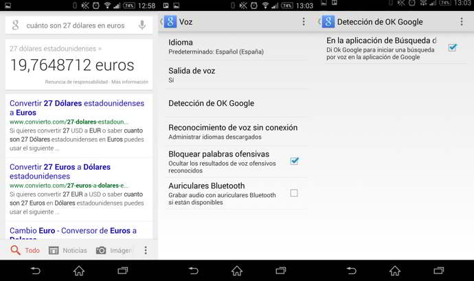 google now español