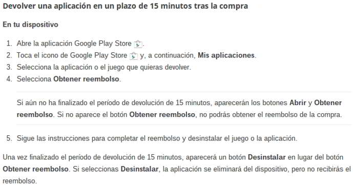 playstore reembolso