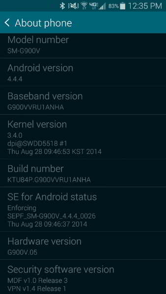 android 4.4.4 galaxy s5 verizon
