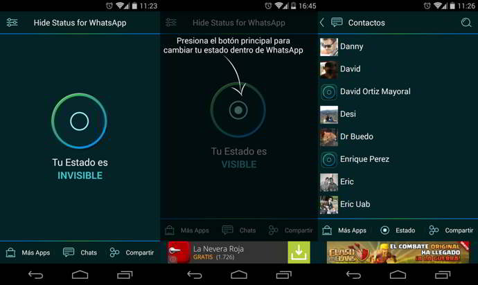 hide whatsapp status android