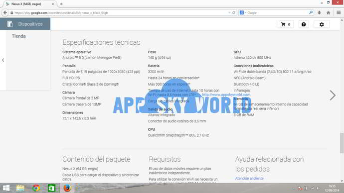 nexus x especificaciones android