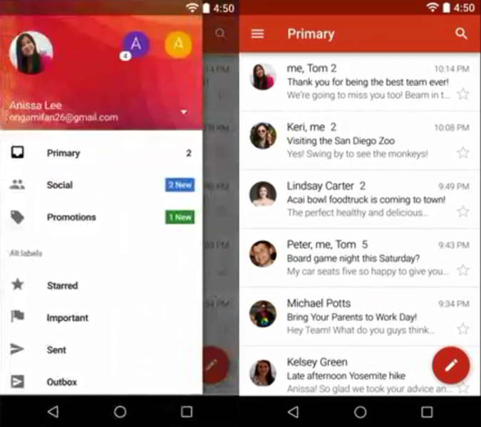 gmail 5.0 android