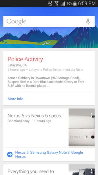 google now alertas policiales android