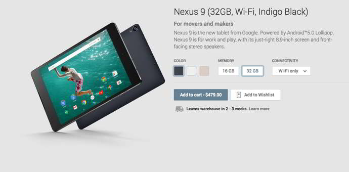 nexus 9 android play store