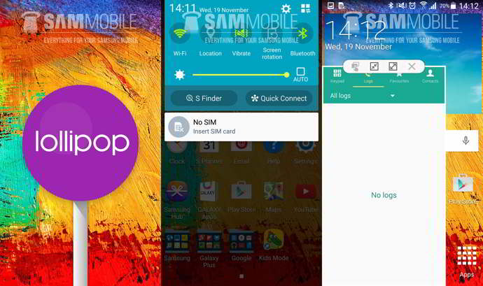 android 5.0 lollipop galaxy note 3