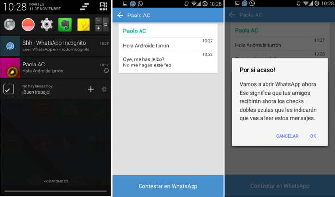 shh - ocultar doble check azul android
