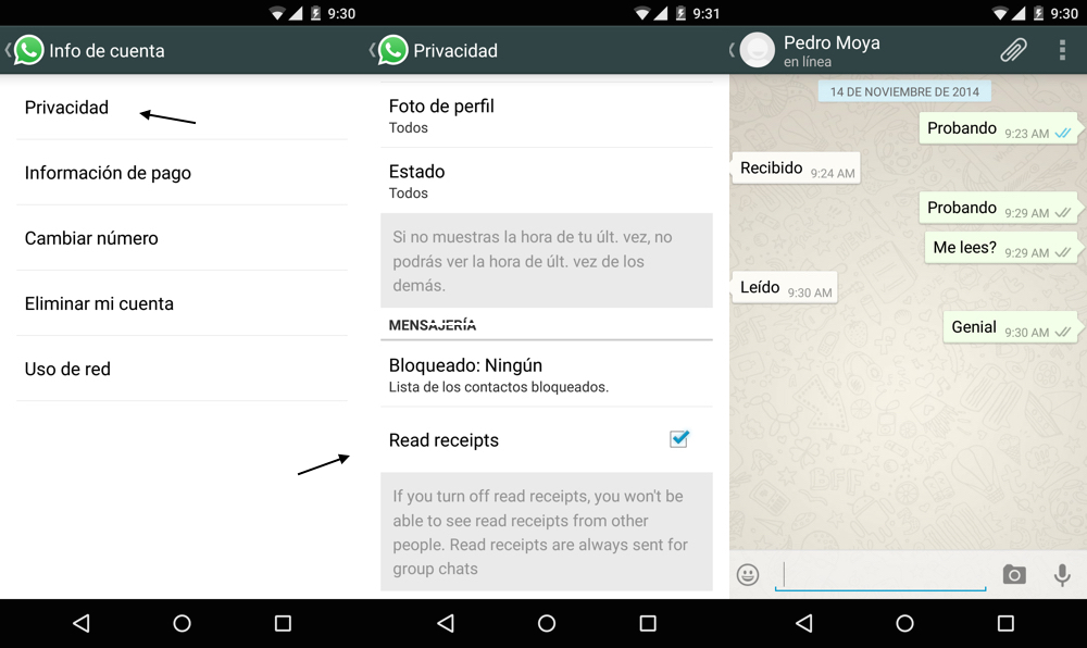 whatsapp android doble tick azul