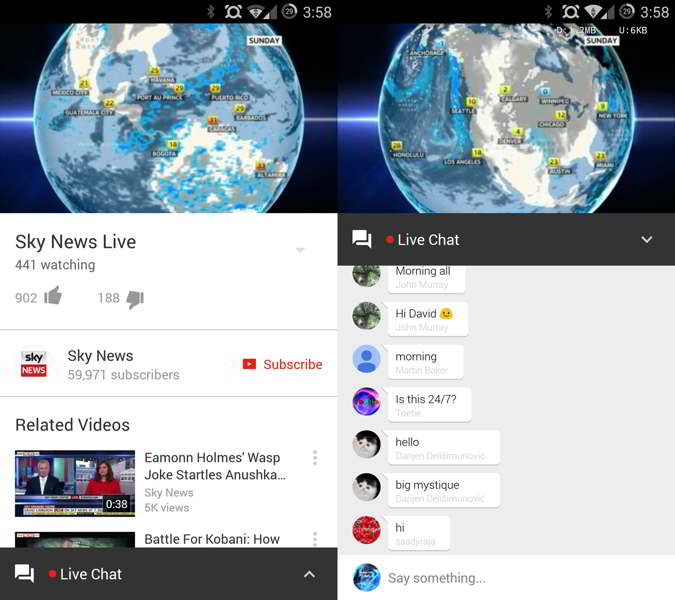 youtube live chat android