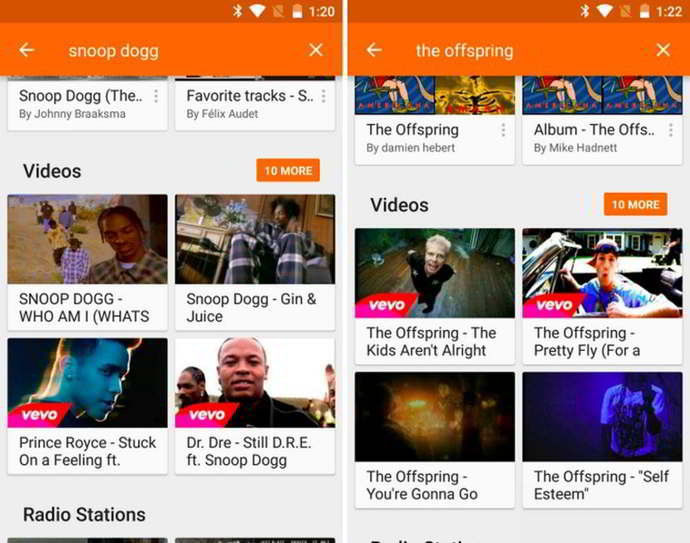 google play music busqueda videos android