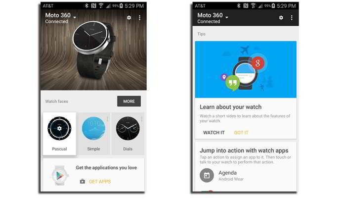 android wear v1.1 interfaz