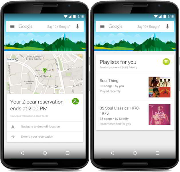 google now resultados tarjetas apps