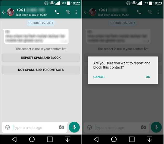 whatsapp android spam