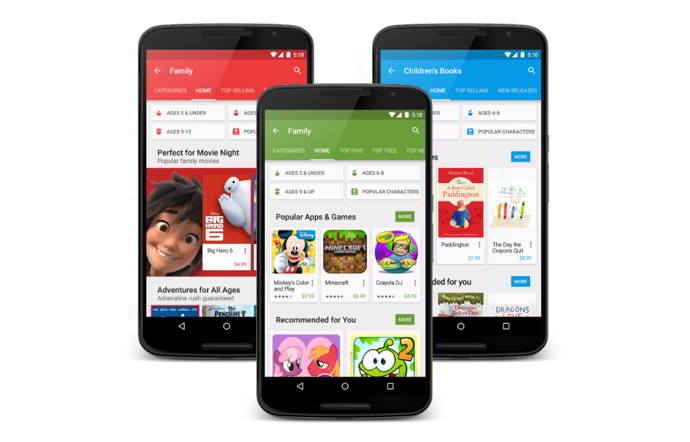 google play store seccion familias