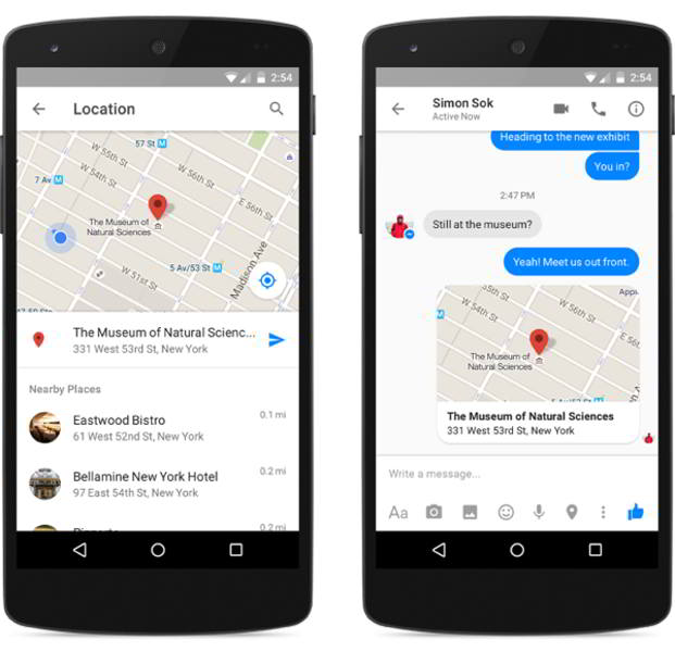 facebook messenger mapas android