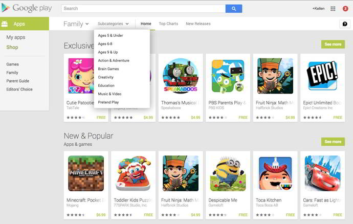 google play families android