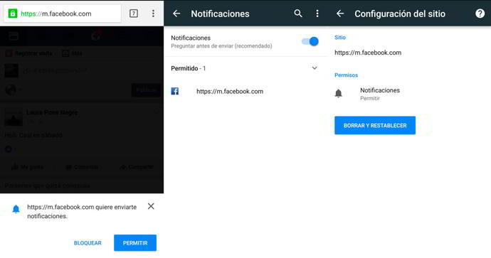 chrome android facebook push