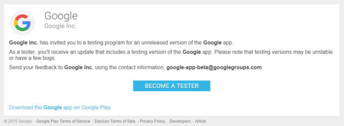 google app beta tester android