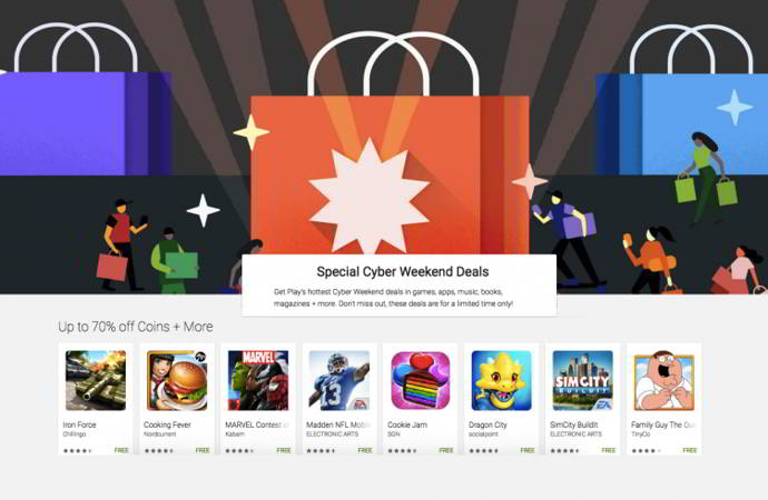 google play store cyber weekend android