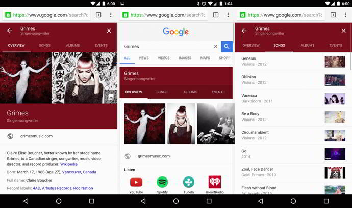 google search sub secciones android