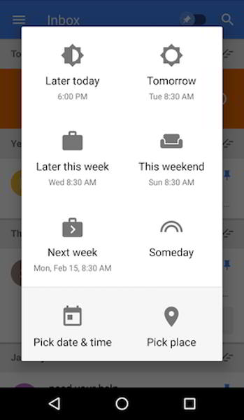 inbox by gmail posponer android