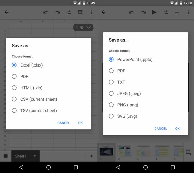 google ofimatica formatos android