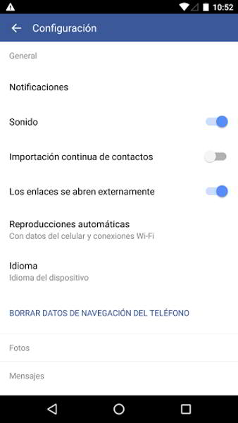 navegador interno facebook android