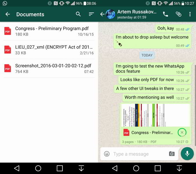 whatsapp android documentos