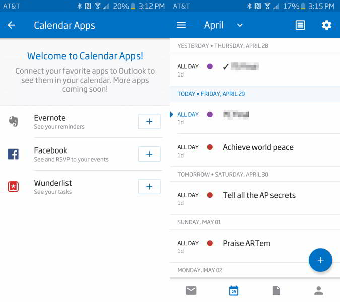 microsoft outlook wunderlist android