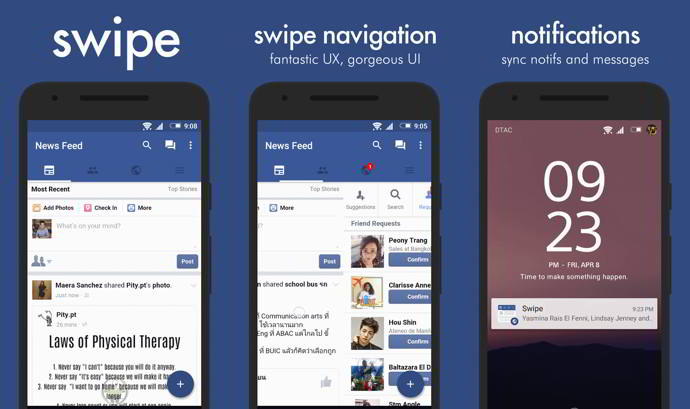 swipe for facebook android
