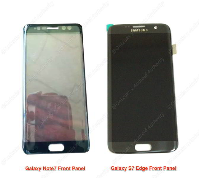 galaxy note 7 panel frontal
