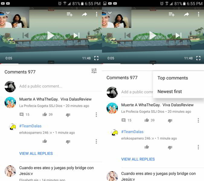 youtube comentarios android