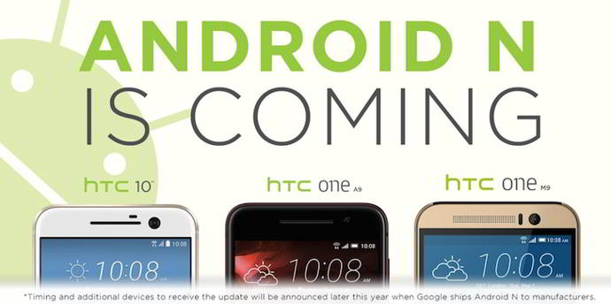 android nougat htc smartphones