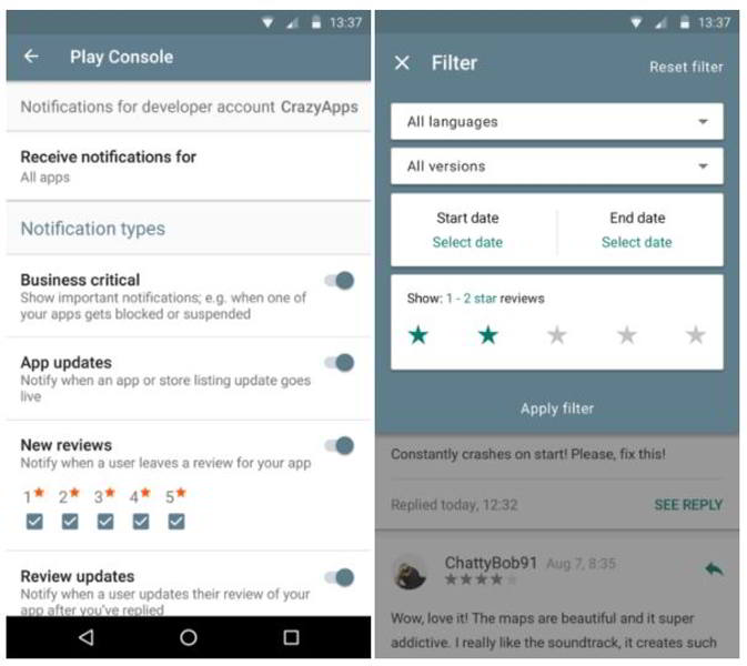 Google play developer console notificaciones de review y m s apk - Android google developer console ...