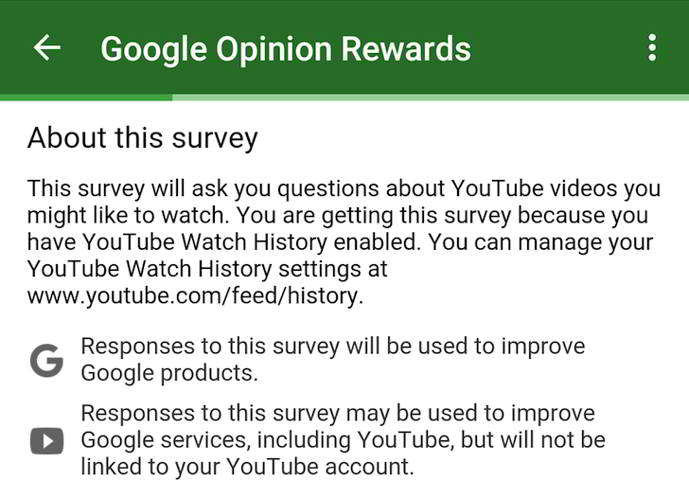youtube google opinion rewards android
