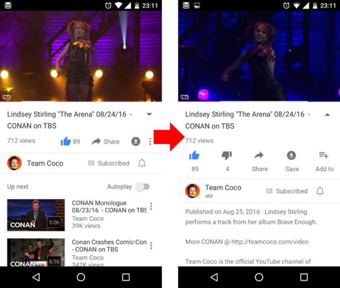 youtube interfaz android