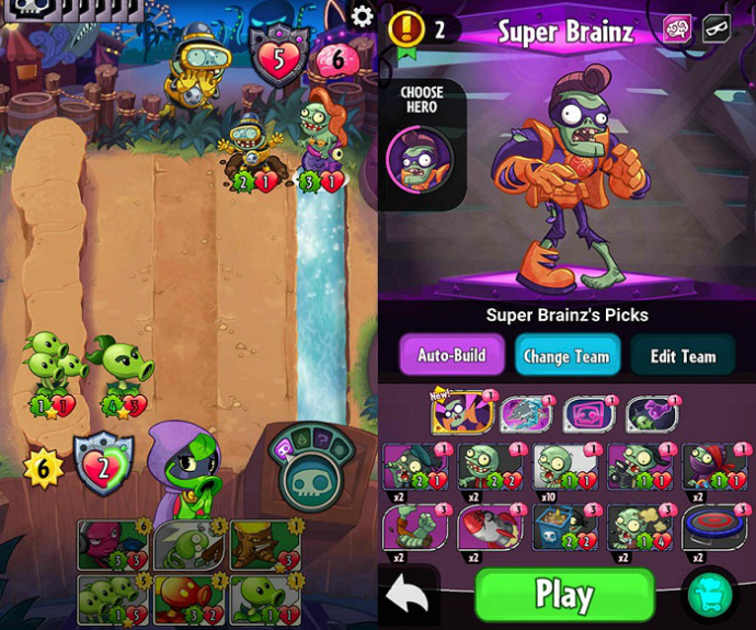 Plants vs Zombies Heroes, juego de cartas ya disponible en Google Play