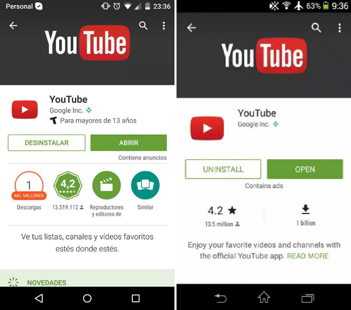 Play Store incorpora cambios