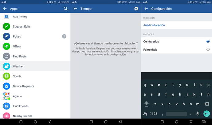 facebook clima android