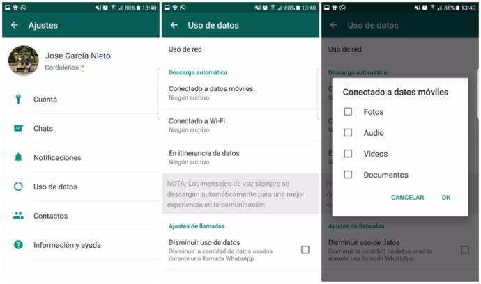 whatsap android exceso contenido