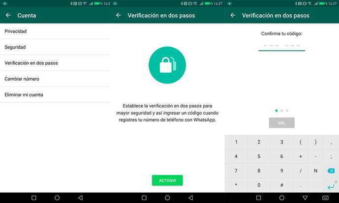 whatsapp android verificacion