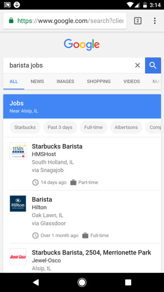 google for jobs android