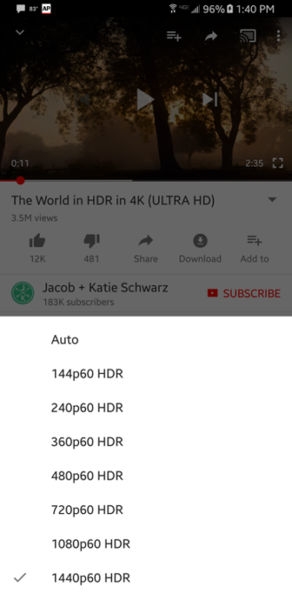 youtube hdr android