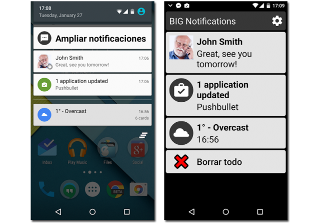 agrandar notificaciones android