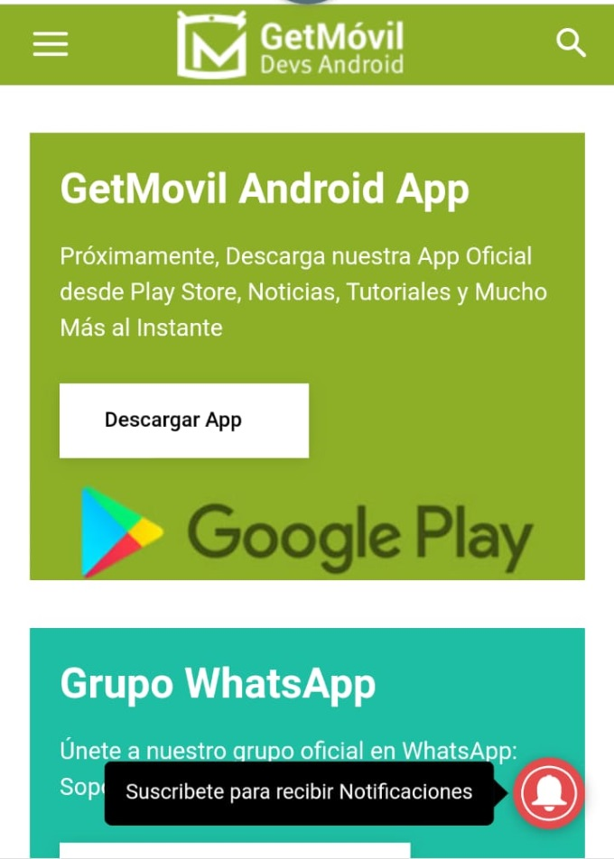 Notificaciones GetMovil