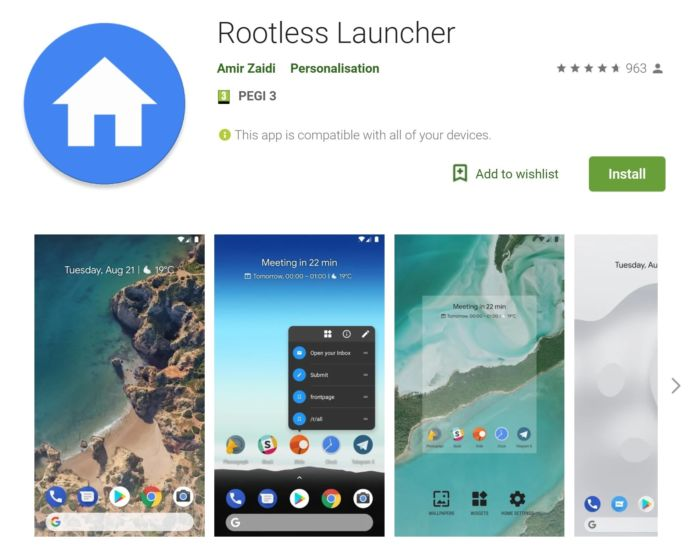 Rootless Pixel Launcher Play Store